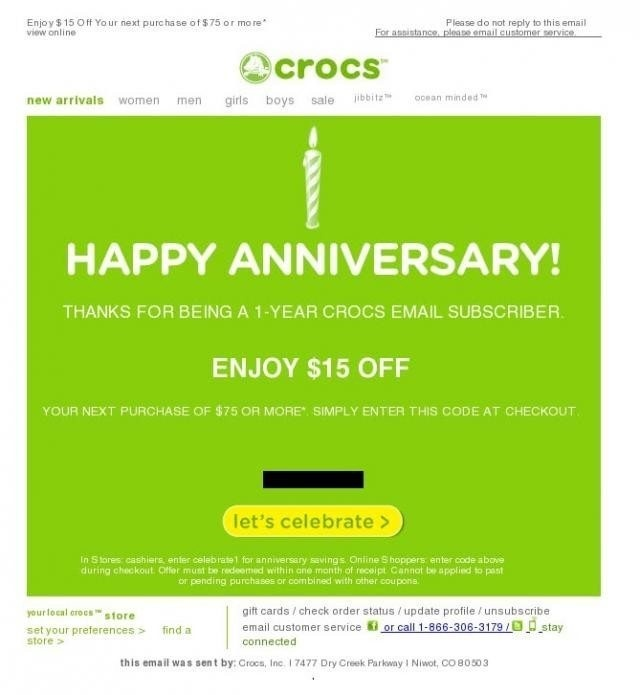 Anniversary Email template